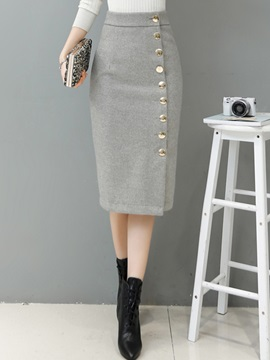 Bodycon High-Waist Mid-Calf Button Solid Color Women's Skirt