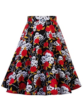 Floral Printed Knee-Length Women's Ball Gown