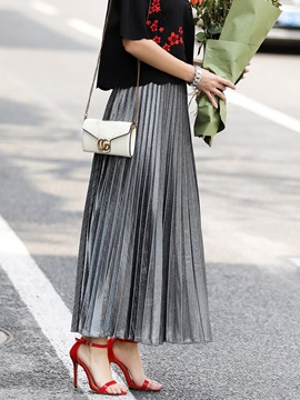 High Waist Pleated Ankle-Length Women's Metallic Skirt