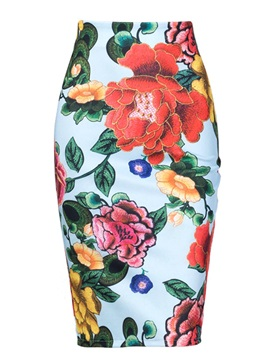 Bodycon High-Waist Floral Embroidery Women's Skirt