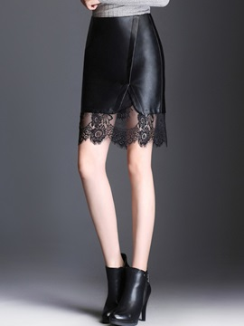 Bodycon High-Waist Lace PU Mini Skirt