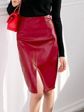 Bodycon High-Waist Knee-Length PU Skirt