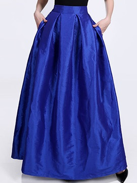High-Waist Expansion Floor Length Plain Women's Skirt with Pocket