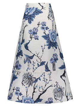 Floral Print Ankle-Length A-Line Women's Skirt