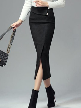 Bodycon High-Waist Mid-Calf Thick Women's Fall Skirt