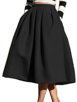 A-Line Mid-Calf Pleated Women's Fall Skirt