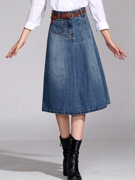 A-Line Mid-Calf Denim Women's Skirt