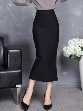 High-Waist Mid-Calf Plain Slim Women's Winter Skirt