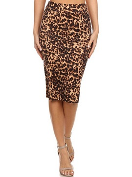 High-Waist Bodycon Leopard Print Women's Skirt
