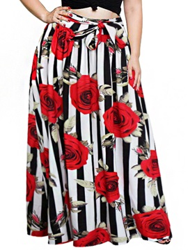 Floor-Length Floral Print Women's Skirt