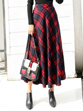 High-Waist Plaid Women's Long Skirt