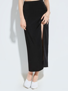 Plain Ankle-Length Slit Women's Skirt