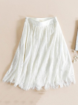 Lace Pleated Knee-Length Women's Skirt