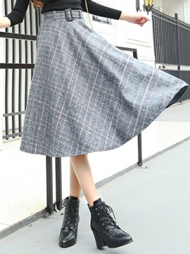 Pleated Patchwork Belt Print Women's Skirt