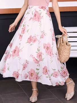 Print Bowknot Ankle-Length Women's Skirt
