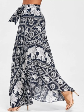 Asymmetric Lace-Up Print Women's Skirt