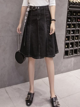 Denim Belt Knee-Length Women's Skirt