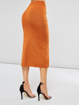 Knitted Side Split Falbala Women's Bodycon Skirt