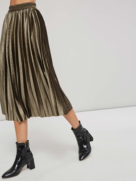 Mid Calf Pleated Western Women's Skirt