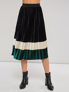 Pleated Color Block Ankle Length Women's Skirt
