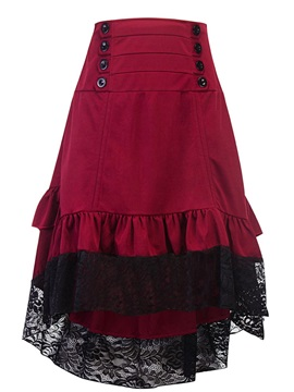 Lace Patchwork Pleated Twist Asymmetric Lolita Skirt