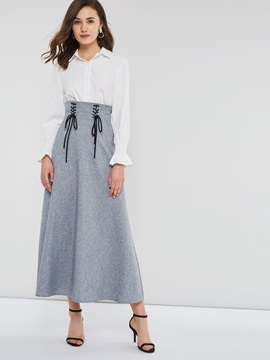 Zipper High Waist A-Line Plain Women's Maxi Skirt