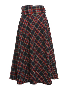 Plaid A-Line High-Waist Women's Midi Skirt