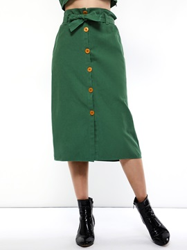 Button High Waist Straight Plain Women's Skirt