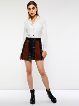 Patchwork High Waist Color Block Women's Mini Skirt