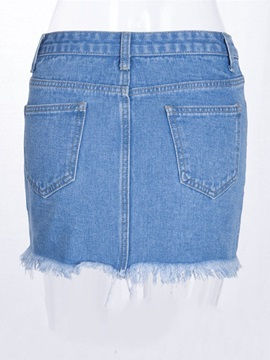 Denim Split Bodycon Patchwork Western Women's Mini Skirt