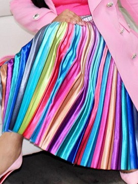 Pleated Striped Color Block Fashion Women's A-Line Skirt