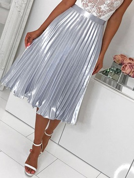 Pleated Plain Mid-Calf Office Lady Women's Skirt