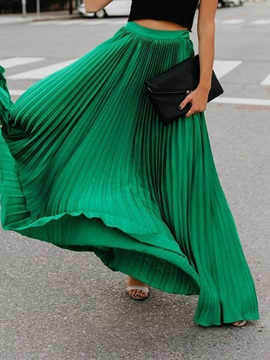 Pleated Plain Stretchy Women