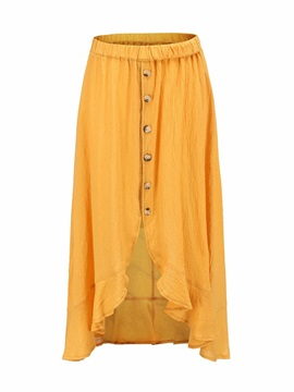 Plain Asymmetrical Mid-Calf Mid Waist Casual Women's Skirt