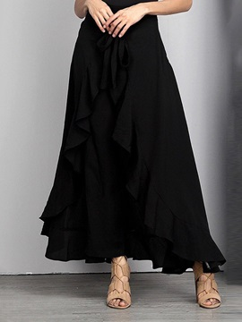Plain Asymmetric Ankle-Length Mid Waist Date Night Women's Skirt