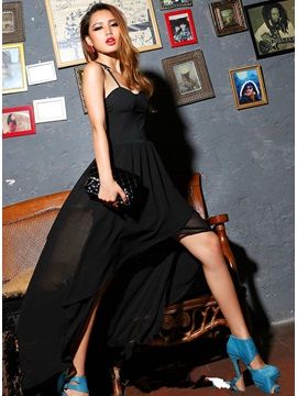 Stylish Europe Style Hollow Swallow Tail Laciness Maxi Dress