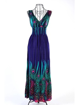 High Quality V Neckline Bohemian  Dress