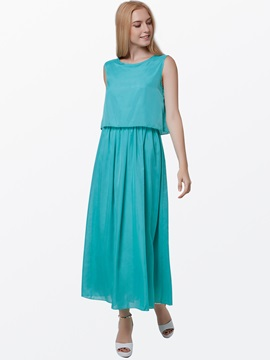 Summer Pure Color Chiffon Maxi Dress