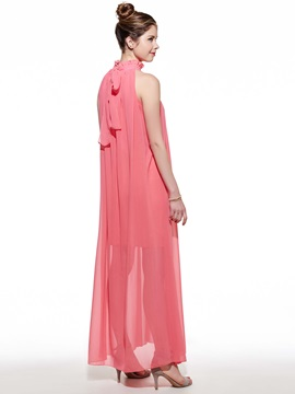 Stylish Nice Korean Stand Collar Chiffon Dress