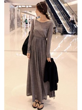 Plain Style Solid Color Slim Maxi Dress