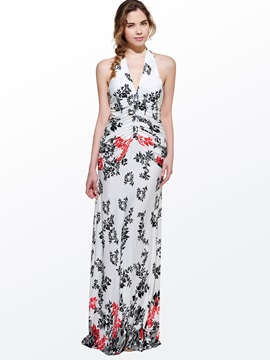 Beautiful V-Neck Sleeveless Leaf Print Halter  Dress