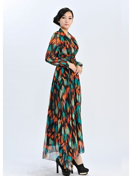 Fantastic Long Sleeves Print Plastic Waist Chiffon Maxi Dress