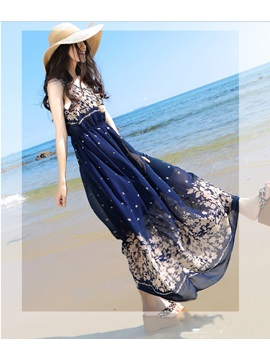 Bohemian Style Flower Print Sleeveless Women's Chiffon Maxi Dress