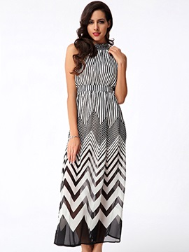 Vogue Wave Stripe Off-Shoulder Chiffon  Dress