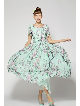 Attractive Wintersweet Print Short Sleeve Chiffon Long Dress