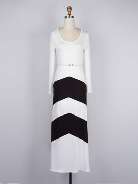 Color Block Stripe Long Sleeve Women's Maxi Dress