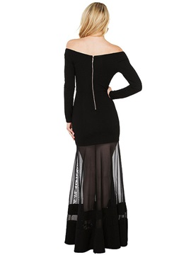 Off Shoulder See-Through Long Sleeve Dress