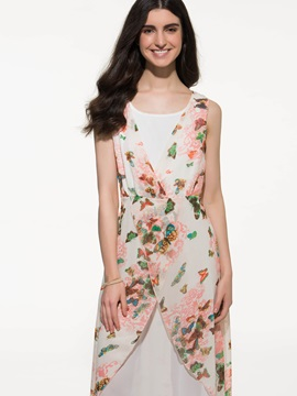 White Floral Print Double-Layer Sleeveless Dress