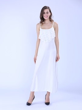 Tidebuy Stylish Lace Decoration Long  Dress