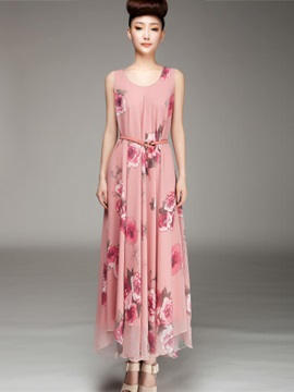 Chiffon Flower Print  Dress